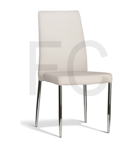 White PU seat & back, polished stainless steel tapered 4 leg base, stackable