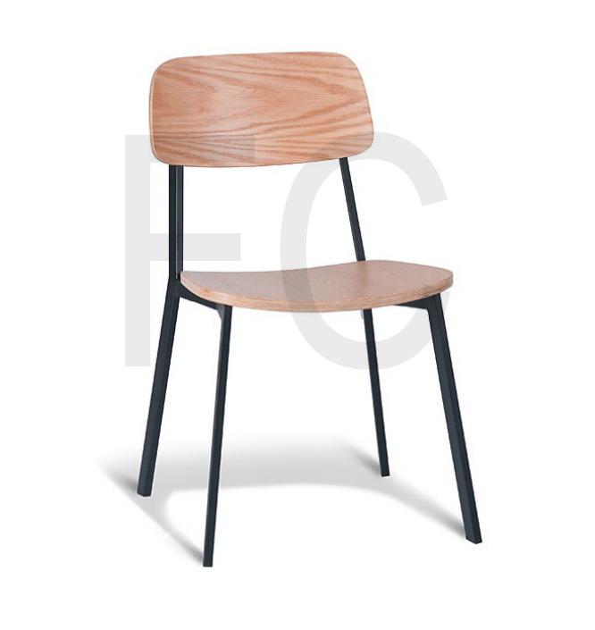 Natural oak seat & back with black frame