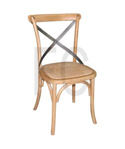 Cross Back - Natural timber frame, wicker look seat
